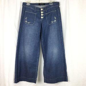 90s vintage wide leg cropped ankle jeans